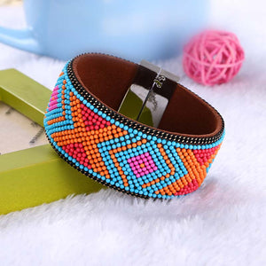 STYLISH ETHNIC WEAVE CERAMIC BEAD LEATHER BRACELETS [6 VARIANTS]