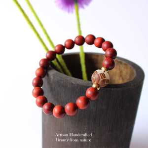 WOMEN'S ROSEWOOD BEADS CARVED LOTUS CHARM BRACELET