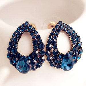 ELEGANT BLUE DROPLET GEMS STUD EARRINGS