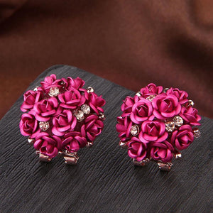 GORGEOUS MULTI COLOR ROSE BLOSSOMS STUD EARRINGS [8 COLORS]