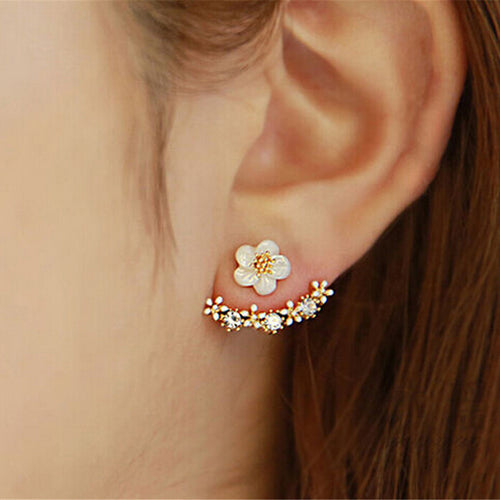 CHARMING WHITE BLOSSOM GOLD AND SILVER CRAWLER EARRINGS