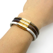 UNISEX FINE WEAVE LEATHER MAGNETIC CLASP FASHION BRACELET