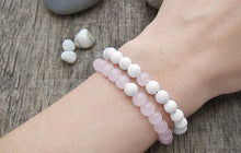 WOMEN'S 2 PIECES PER SET WHITE SHELL AND ROSE QUARTZ BEADS BRACELET