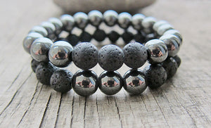 UNISEX 8MM GENUINE HEMATITE AND LAVA STONES GROUNDING BRACELET