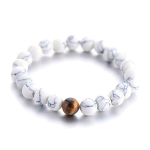 MATCHING IVORY AND TIGER EYE COUPLE DISTANCE BRACELET [SET OF 2]