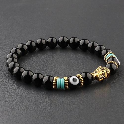 UNISEX BUDDHA AND EVIL EYE CHARMS OBSIDIAN BEADS BRACELET