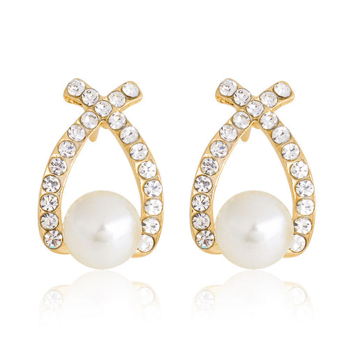 ELEGANT PEARL AND GEMS STUD EARRINGS