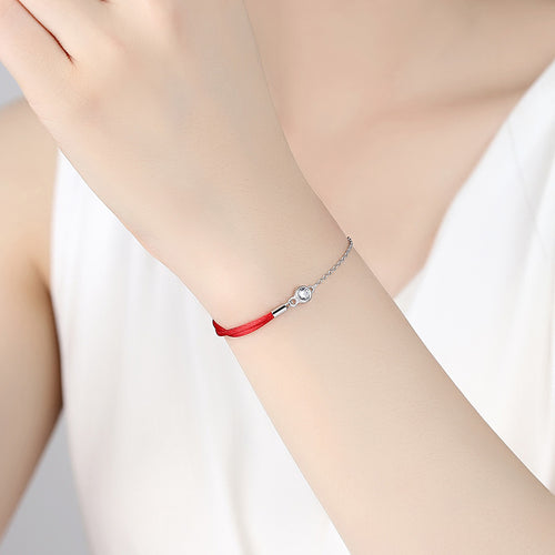 AUTHENTIC 925 SILVER RED LUCKY STRING CHAIN BRACELET