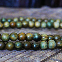 UNISEX 8MM NATURAL GREEN SANDALWOOD BEADS MEDITATION BRACELET