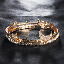 STYLISH 4 PIECES PER SET MOON, STARS AND HEART BANGLE BRACELET