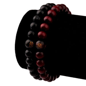 UNISEX BLACK AND BROWN SANDALWOOD BEADS LUCKY CHARM BRACELET