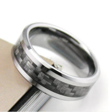GRAY CARBON FIBER WEAVE STAINLESS STEEL RING