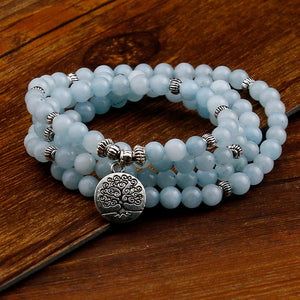 WOMEN'S NATURAL BLUE OPAL STONE 108 BEAD TREE OF LIFE MALA
