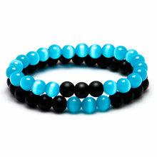 COUPLE'S BLUE OPAL AND BLACK ONYX DISTANCE BEAD BRACELET