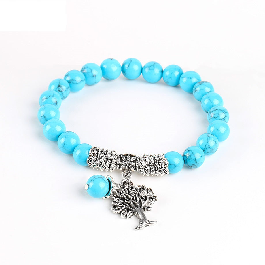 UNISEX 8MM BLUE HOWLITE STONE TREE OF LIFE PENDANT BRACELET