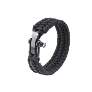 BRAIDED PARACORD STAINLESS STEEL SHACKLE SURVIVAL BRACELETS