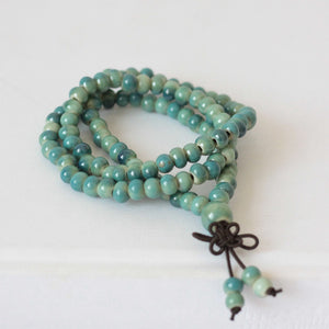 WOMEN'S GREEN CERAMIC BEADS MEDITATION BRACELET