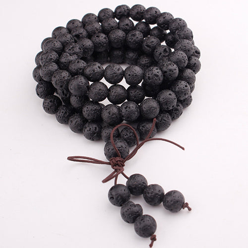 HIGH ENERGY NATURAL LAVA STONES TIBETAN MALA [UNISEX]