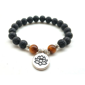 UNISEX LAVA STONE AND TIGER EYE BEADS PENDANT BRACELET [2 VARIATIONS]