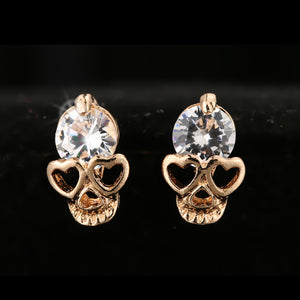 UNIQUE GEM ON SKULL GOLD STUD EARRINGS