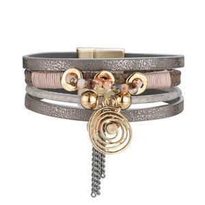 WOMEN'S MULTI-LAYER LEATHER WITH BEADS PENDANT BRACELET