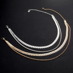 DOUBLE LAYER FISH BONE AND CHAIN CHOKER NECKLACE [2 COLORS]