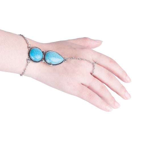 CHARMING BOHEMIAN CHAINED BRACELET AND RING SET