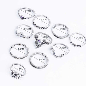 10 PIECES PER SET ANTIQUE SILVER RING SET