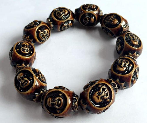 VINTAGE FASHION OVER-SIZED SMILING BUDDHA BEAD BRACELET