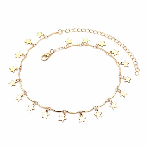 HANGING STARS LINKED CHOKER NECKLACE