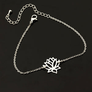 ELEGANT SINGLE CHAIN LOTUS BLOSSOM PENDANT BRACELET [3 COLORS]
