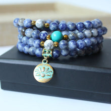 WOMEN'S 6MM BLUE NATURAL MALA BEADS BRACELET