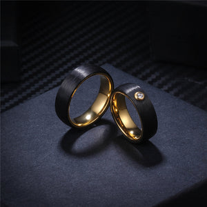 DOUBLE LAYER CARBON FIBER ON GOLD RING