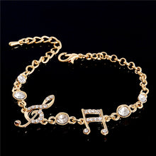 CHARMING GEM STUDDED MUSIC LOVER LINKED CHAIN BRACELET
