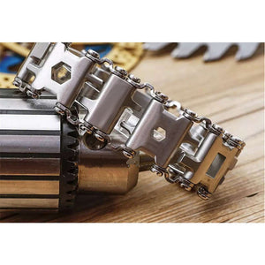 MULTI-FUNCTIONAL 29-IN-1 FORTIFIED STAINLESS STEEL TOOLS BRACELET [SILVER AND BLACK]