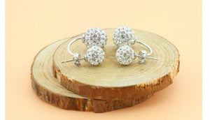CHARMING DOUBLE-STUD TINY GEMS SILVER EARRINGS