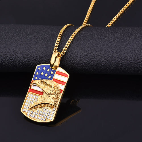 MEN'S AMERICAN FLAG & EAGLE GEM STUDDED PENDANT NECKLACE