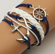 NAVY BLUE NAUTICAL INFINITY PENDANT BRACELET