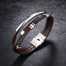 STYLISH 3 LAYER LEATHER STAINLESS STEEL CLASP BRACELET