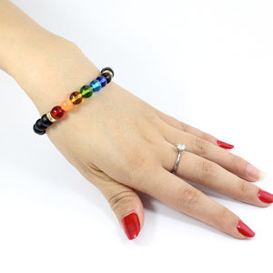 UNISEX WHITE OPAL AND BLACK ONYX 7 CHAKRA BEAD BRACELETS [2 VARIATIONS]