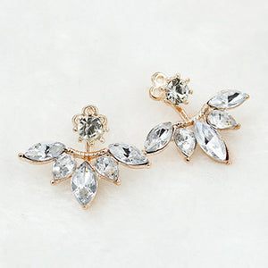 ELEGANT HANGING LEAVES SILVER AND GOLD STUD EARRINGS