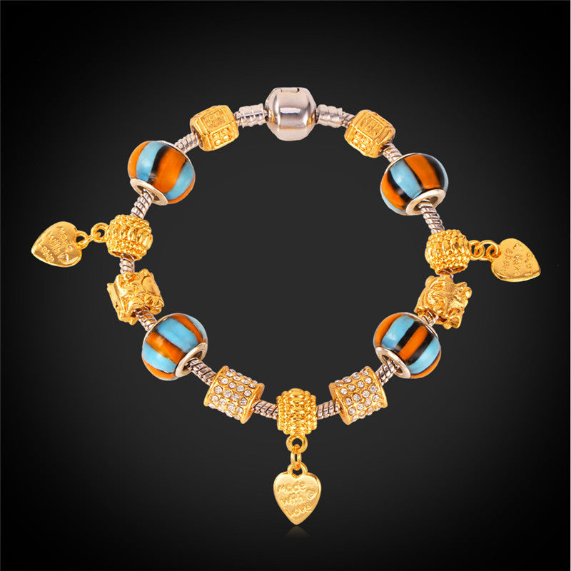 ELEGANT STAMPED HEART ALLOY & GLASS BEADS CHARM BRACELET