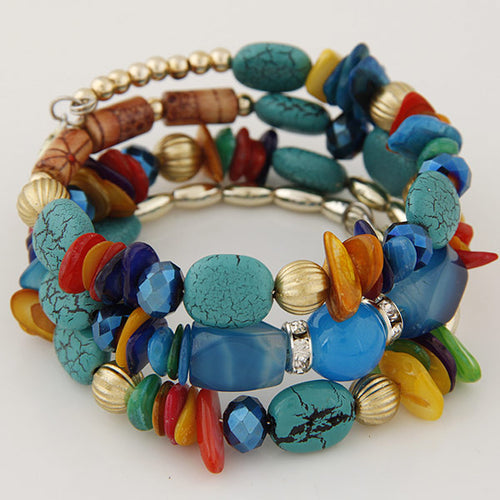 WOMEN'S MULTI-LAYER MIXED STONES BOHEMIAN BRACELETS [6 COLORS]