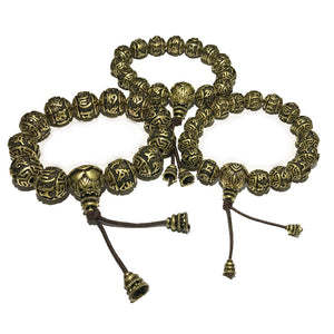 ANTIQUE LOTUS SILVER & COPPER PRAYER BEAD BRACELET