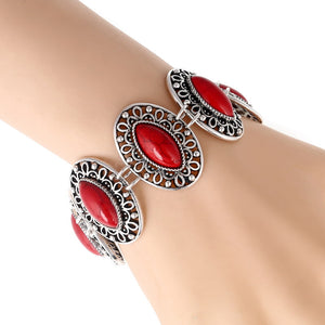 WOMEN'S ETHNIC BOHEMIAN RED AND BLUE ACCENT STONES BRACELET [12 VARIATIONS]