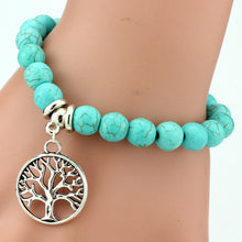 WOMEN'S STYLISH TURQUOISE BEADS LUCKY CHARM PENDANT BRACELET [9 VARIATIONS]