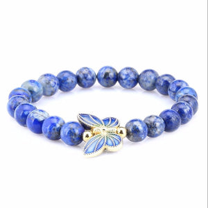 NATURAL LAZURITE STONE BEADS BUTTERFLY PENDANT BRACELET