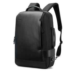 ANTI-THEFT LEATHER EXPANDABLE BACKPACK WITH USB CHARGING PORT