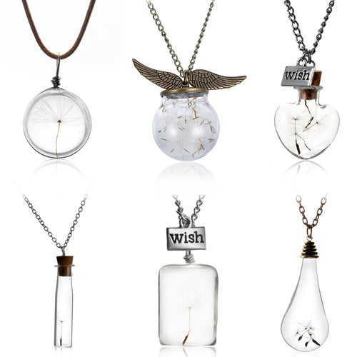 ANTIQUE BRONZE WISH BOTTLE PENDANT NECKLACES