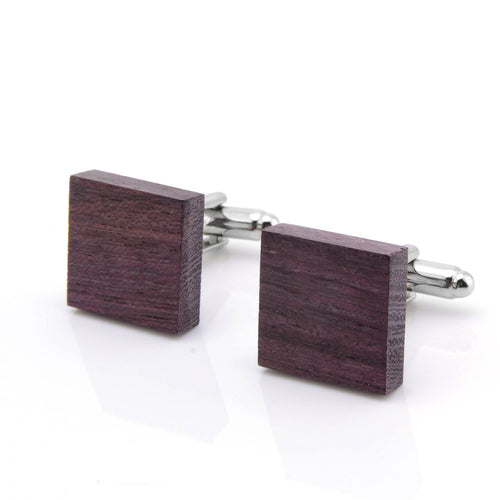 RED MAPLE WOOD STAINLESS STEEL CUFFLINK